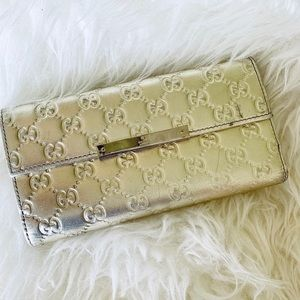 Gucci GG Embossed Metallic Flap Over Wallet